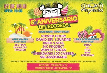 Cartel de la fiesta 6º Aniversario BFL @ Venecia