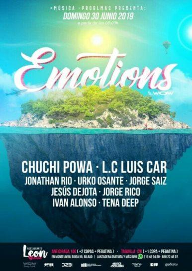 Cartel de la fiesta Emotions @ Restaurante Leon