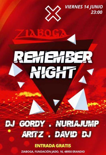 Flyer o cartel de la fiesta Remember Night en Ziaboga