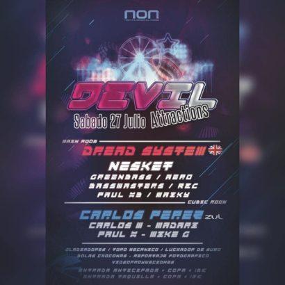 Cartel de la fiesta Devil Atractions @ NON