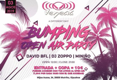 Flyer o cartel de la fiesta Bumping Open Air Party en Venecia