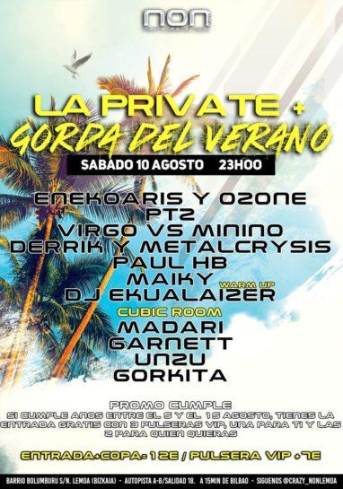 Cartel de la fiesta La Private   gorda del verano @ NON