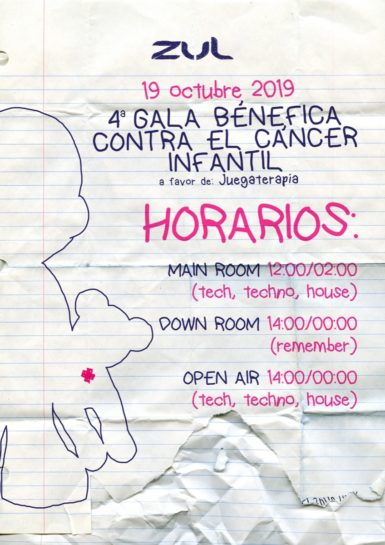 Flyer o cartel de la fiesta 4ª Gala Benéfica Contra el Cáncer Infantil en Zul