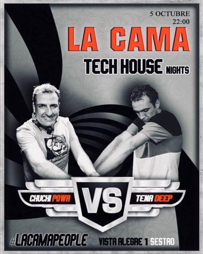 Cartel de la fiesta Tech House Nights en La Cama (5 Octubre 2019)